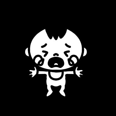 泣く赤ちゃんのモノクロイラスト
