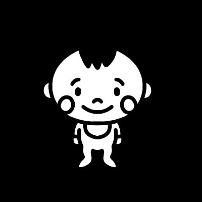 赤ちゃんのモノクロイラスト
