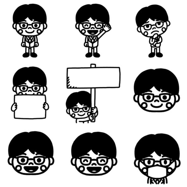 いろいろなパターンの男子学生のモノクロイラスト