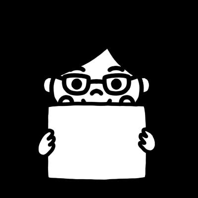 メッセージボードを持つ学制服の女の子のモノクロイラスト