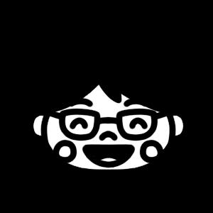笑顔の学制服の男の子のモノクロアイコンイラスト