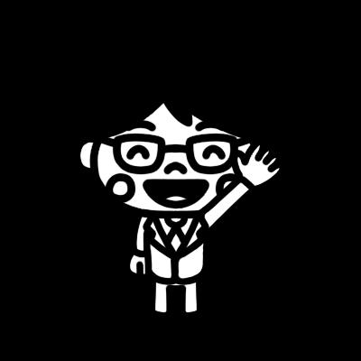 手を上げる学制服の男の子のモノクロイラスト
