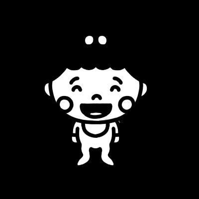 笑う女の子の赤ちゃんのモノクロイラスト