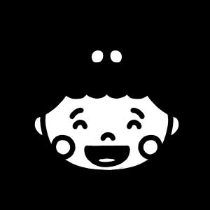 笑う女の子の赤ちゃんのアイコンモノクロイラスト