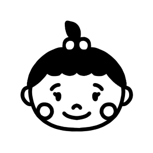 女の子の赤ちゃんのアイコンモノクロイラスト