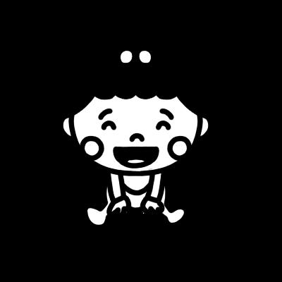 座って笑う女の子の赤ちゃんのモノクロイラスト
