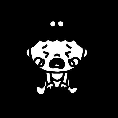座って泣く女の子の赤ちゃんのモノクロイラスト