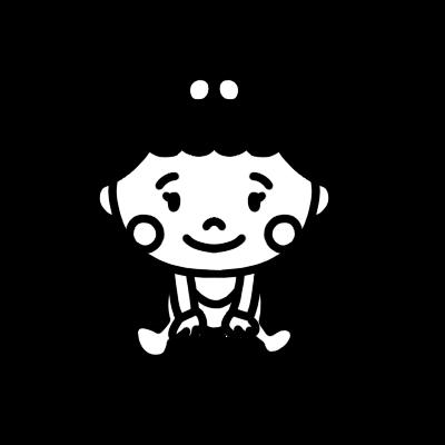 座る女の子の赤ちゃんのモノクロイラスト