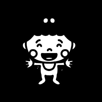 両手を広げて笑う女の子の赤ちゃんのモノクロイラスト