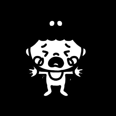 泣く女の子の赤ちゃんのモノクロイラスト