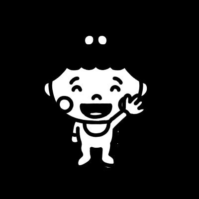 手を上げる女の子の赤ちゃんのモノクロイラスト
