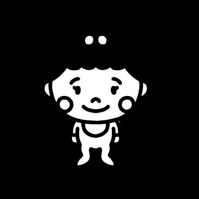 女の子の赤ちゃんのモノクロイラスト