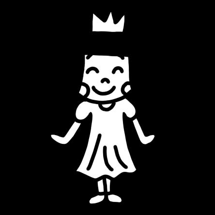 お姫様の衣装の女の子モノクロ