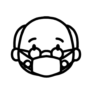 マスクをするおじいさんのモノクロアイコンイラスト