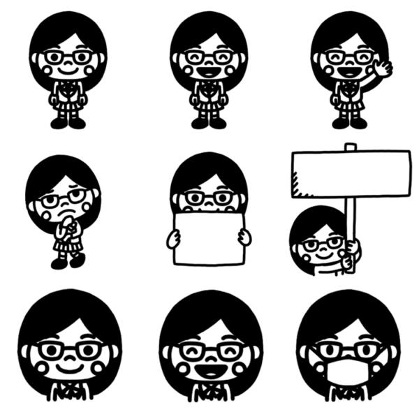 いろいろなパターンの女子学生のモノクロイラスト
