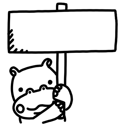 看板を持つカバのモノクロイラスト