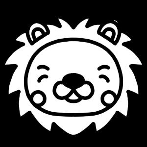 笑顔のライオンのモノクロアイコンイラスト