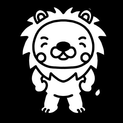 笑っているライオンのモノクロイラスト