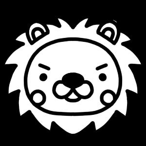 ライオンのモノクロアイコンイラスト
