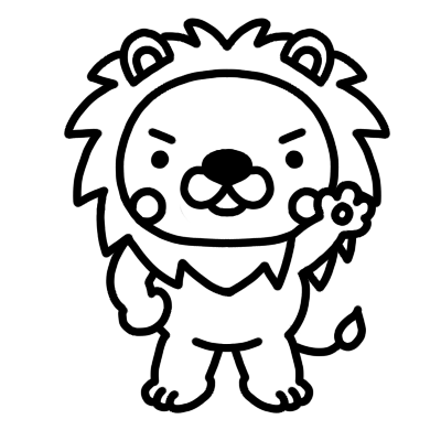 手を上げるライオンのモノクロイラスト