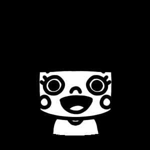 口を開けている女の子のモノクロアイコンイラスト