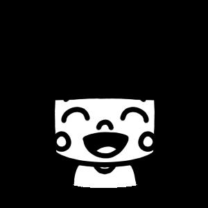 笑っている女の子のモノクロアイコンイラスト