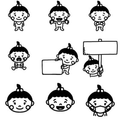 いろいろなパターンの女の子の赤ちゃんのモノクロイラスト