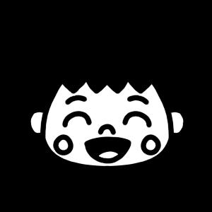 笑顔の男の子のモノクロアイコンイラスト