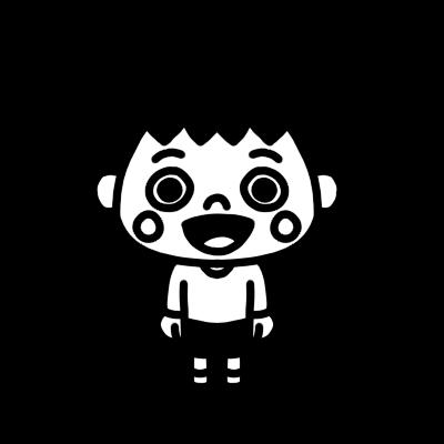 口を開ける男の子のモノクロイラスト