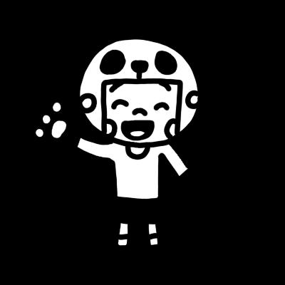 パンダのかぶりものを被る男の子モノクロ