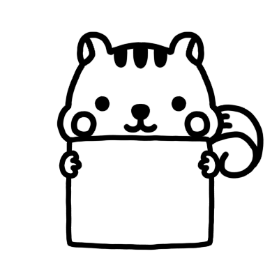 メッセージボードを持つリスのモノクロイラスト