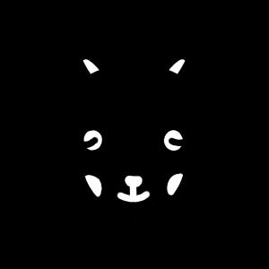 笑っている黒ヤギのモノクロアイコンイラスト