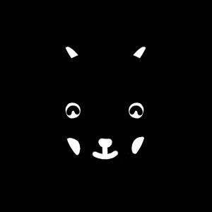 笑顔の黒ヤギのモノクロアイコンイラスト
