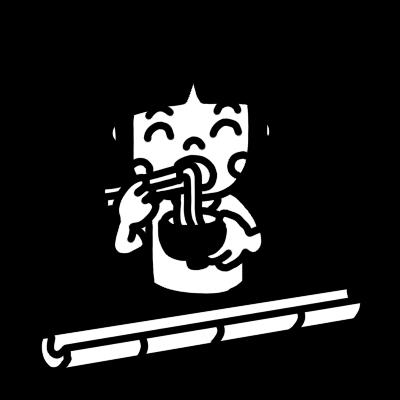 流しそうめんを食べる女の子のモノクロイラスト