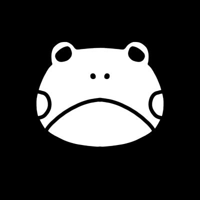 かわいいカエルのモノクロアイコンイラスト