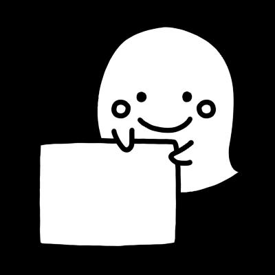 メッセージボードを持つオバケのモノクロイラスト