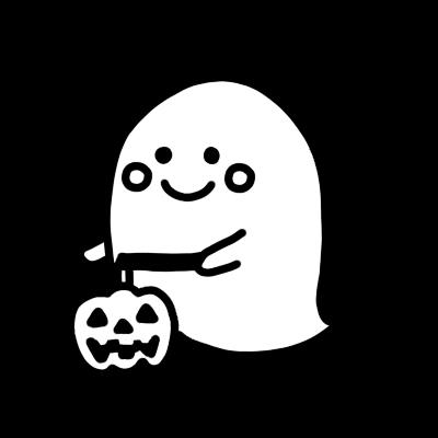 かぼちゃのランタンを持ったかわいいオバケのモノクロイラスト