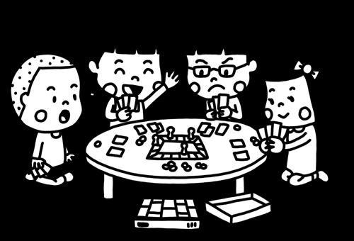 ボードゲームを遊ぶ子どものモノクロイラスト