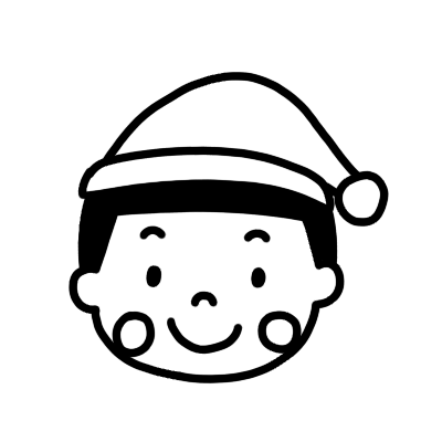 サンタの帽子をかぶった男の子のモノクロアイコンイラスト