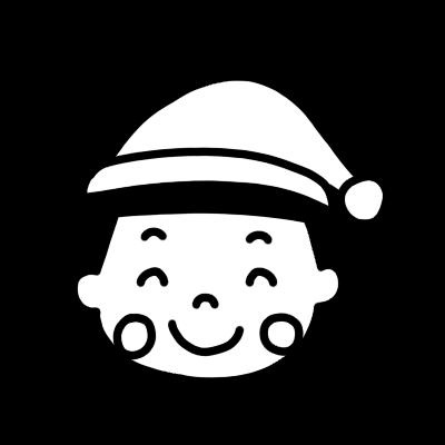 サンタの帽子をかぶった男の子が笑うモノクロのイラスト