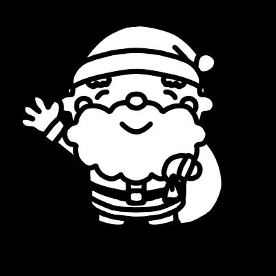 サンタクロースが手を上げて笑っているモノクロイラスト