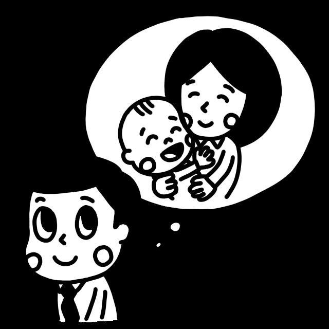 仕事中に家族のことを思い出すお父さんのモノクロイラスト