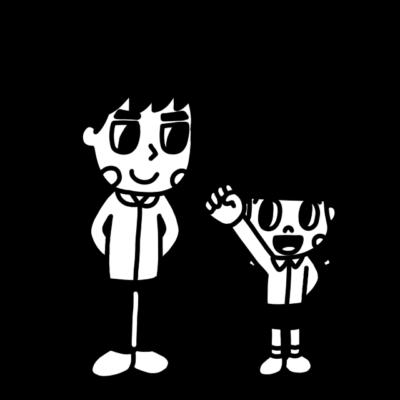 子ども主体のモノクロイラスト