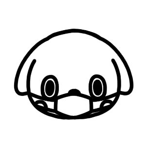 マスクをする犬のモノクロアイコンイラスト