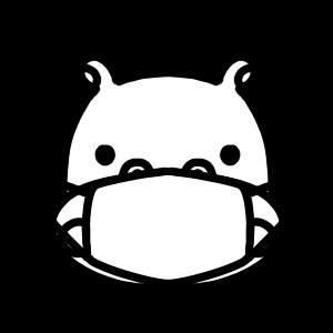 マスクをするカバのモノクロアイコンイラスト