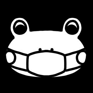 マスクをするカエルのモノクロアイコンイラスト