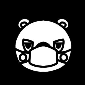 マスクをするクマのモノクロアイコンイラスト