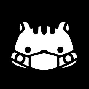 マスクをするリスのモノクロアイコンイラスト