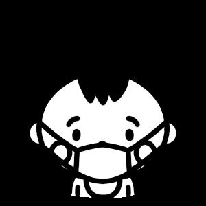 マスクをする赤ちゃんのモノクロアイコンイラスト