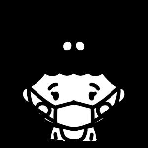 マスクをする女の子の赤ちゃんのモノクロアイコンイラスト